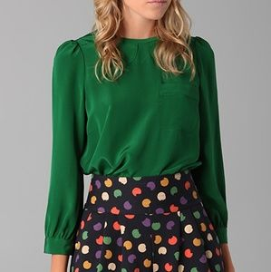 Marc by Marc Jacobs Michaela Green Silk Blouse